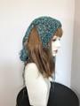 針抜き垂れニット帽:青