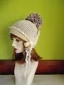 945 最強!リバーシブルポンポン着脱インコ帽:の白紫(薄手バージョン)