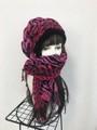 1829 布巻き帽:赤紫ゼブラヒョウ(ロング)