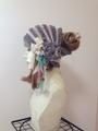1130 おだんごを出せる花束ターバン:灰紫