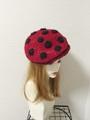1296 夏用ベレー帽★赤黒水玉 てんとう虫みたい