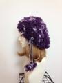 ファー帽子:紫