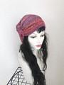 夏用ショートからロング帽子ターバン⑤雅な赤紫とオレンジ