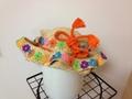 1097 帯ひもとカラホーお花の波型ラフィアハット