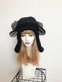 1560 耳付もこもこ黒羊の耳あて帽子:黒グレー