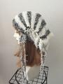1424 雪ひらクシュクシュ帽子ターバン:灰白 秋向け