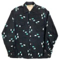 50s GOLDEN GATE BLACK BODY ATOMIC PRINT RAYON SHIRT.