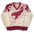 "50s JANTZEN ""PANTHER"" JACQUARD KNIT SWEATER."