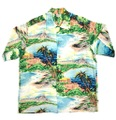 "50s PALI HAWAIIAN STYLE. ""OVERALL PATTERN"" HAWAIIAN SHIRT."