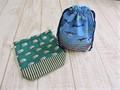 コップ袋2個セット(緑バス&おさかな)