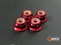 【t4works】アルミフランジロックナット 4mm(4個入り) レッド