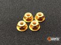 【t4works】アルミフランジロックナット 4mm(4個入り)ゴールド