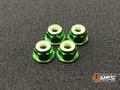【t4works】アルミフランジロックナット 4mm(4個入り)グリーン