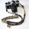 <SALE>デニム裂き布の麻紐ヘンプカメラストラップ