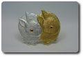 うさぎ2羽(金メッキ) ブローチ