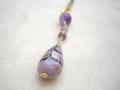 シックな紫のハンドペイントビーズとアメジストの帯飾り ラインストーン