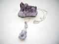 アメジスト原石とタンザナイトのペンダントネックレス 925SV クリスタル 結晶