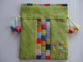 韓国伝統工芸「ポジャギと刺繡の巾着袋(小)・黄緑色」