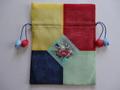 韓国伝統工芸「ポジャギと刺繡の巾着袋(大)・黄色×紺色」