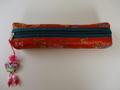 韓国伝統工芸「刺繡の筆入れ・橙色」