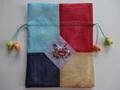 韓国伝統工芸「ポジャギと刺繍の巾着袋(大)・水色×紺色」