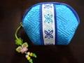 韓国伝統工芸「ミニポーチ・濃水色色」