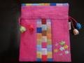 韓国伝統工芸「ポジャギと刺繡の巾着袋(小)・ピンク色」
