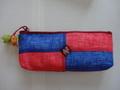 韓国伝統工芸「ポジャギと刺繍の筆入れ・赤色×青色」