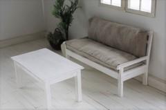 ローテーブル(ブライス、リカちゃん)白シャビー