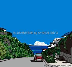 坂の向こう側 湘南イラスト版画作品