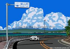 長者ヶ崎の向こうに 湘南イラスト版画作品