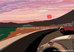 落陽の空景色 湘南イラスト版画作品