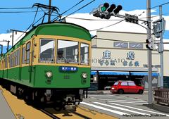 路面電車~昔も今もこの街に~ 湘南イラスト版画作品