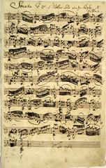バッハの自筆譜(A3サイズ額絵)