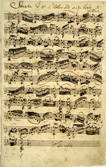 バッハの自筆譜(A5サイズ額絵)