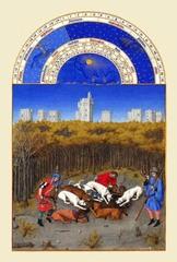 ベリー公のいとも豪華なる時祷書-12月(A5サイズ額絵)