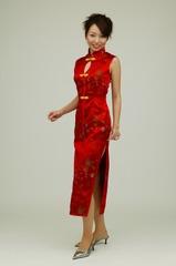 【女装用・DXチャイナドレス・ロング・ノースリーブ(5色)】販売 ★M128