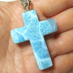 神様の贈り物 波模様 ラリマー十字架ペンダントトップ
