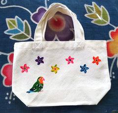 キャンバスミニトートバッグ (コザクラインコとプルメリア)