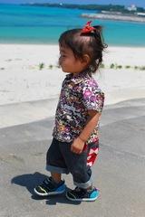 ベビーアロハシャツ紅型かりゆし黒[受注製作]生成×黒紫