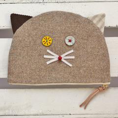 【NEW】かまぼこ猫ポーチ大 ツイード
