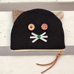 【NEW】かまぼこ猫ポーチ小 黒