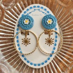 【NEW】青いヴィンテージボタンの2WAYイヤリング