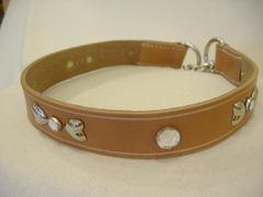 ハンドメイド革製首輪 Ribbon クリア Lサイズ