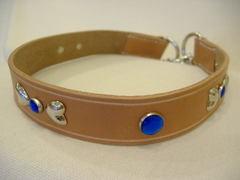 ハンドメイド革製首輪 Ribbon ブルー Lサイズ