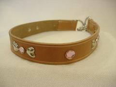ハンドメイド革製首輪 Ribbon ピンク Lサイズ