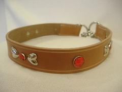 ハンドメイド革製首輪 Ribbon レッド Lサイズ