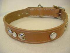 ハンドメイド革製首輪 Ribbon クリア Mサイズ