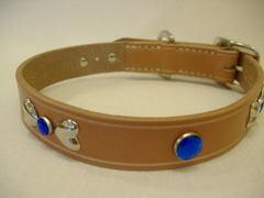 ハンドメイド革製首輪 Ribbon ブルー Mサイズ