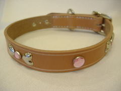 ハンドメイド革製首輪 Ribbon ピンク Mサイズ